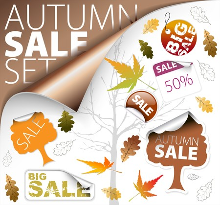 new product on sale: Set of autumn discount tickets, labels, stamps, stickers, corners, tags (vector) Illustration