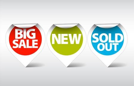 Ronda etiquetas / pegatinas para la gran venta, nuevo y artículos vendidos fuera