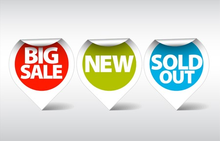 Round Labels  stickers for big sale, new and sold out items Vector