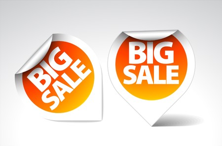 Round Labels  stickers for big sale - orange with white border Vector