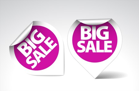 Round Labels  stickers for big sale - purple with white border Vector