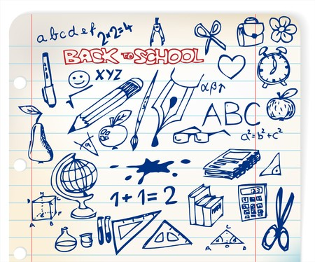 Back to school - set of school doodle illustrations Stock Vector - 7779171
