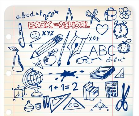 school bags: Back to school - set of school doodle illustrations