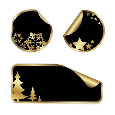Christmas labels and stickers (golden and black) Vector
