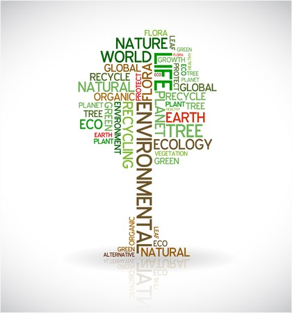 tree roots: Ecology - environmental poster made from words in the shape of green tree