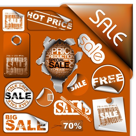 Set of brown discount tickets, labels, stamps, stickers, corners, tags  Vector