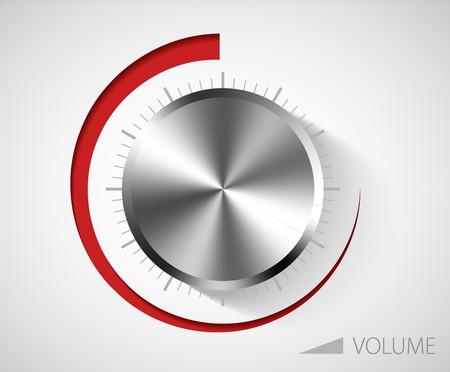 player controls: Perilla de volumen de cromo con escala en fondo blanco