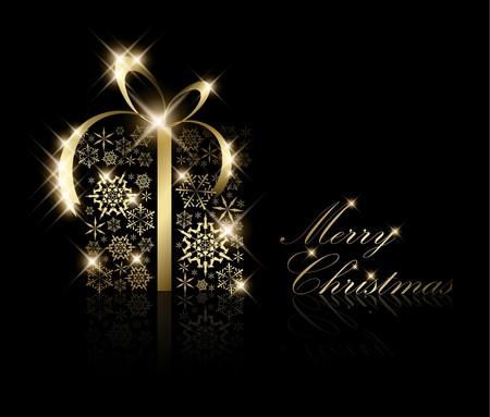 nobile: Scatola regalo di Natale a base di fiocchi di neve d'oro su nero (vettore)