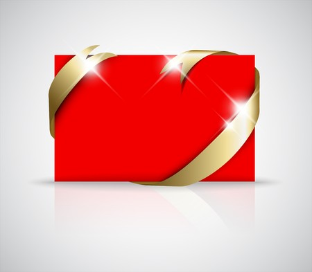 where: Christmas or wedding card - Golden ribbon around blank red paper,  where you should write your text