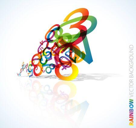 simbolos matematicos: Fondo abstracto con n�meros de arco iris colorido  Foto de archivo