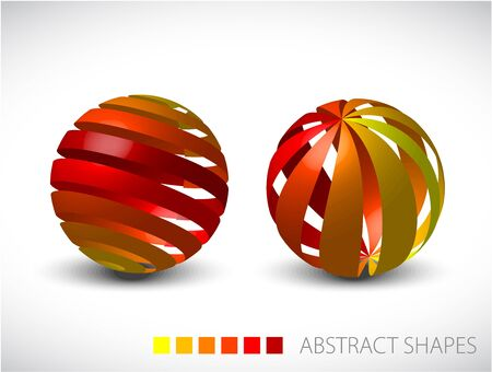 Collection of abstract spheres made from colorful stripes photo