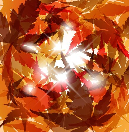 Autumn golden leafs abstract background with place for your text photo
