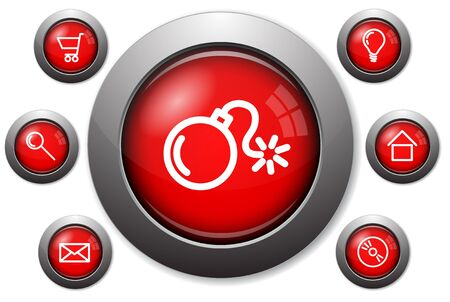 Colorful red glassy web buttons with metal borders photo