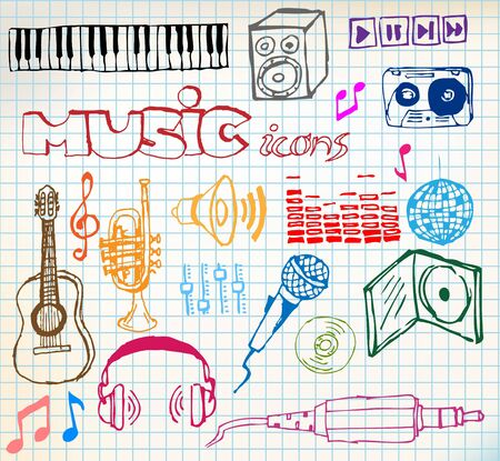 Set of colored music hand-drawn icons on squared paper photo