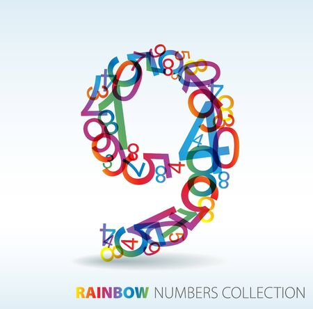 Number nine made from colorful numbers -  check my portfolio for other numbers Stock Photo - 7913526