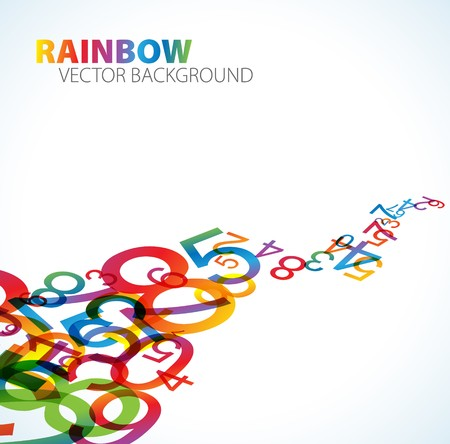 math symbols: Abstract background with colorful rainbow numbers Stock Photo