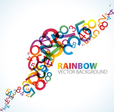 cartoon math: Abstract background with colorful rainbow numbers Stock Photo