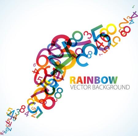 numero uno: Fondo abstracto con n�meros de arco iris colorido  Foto de archivo
