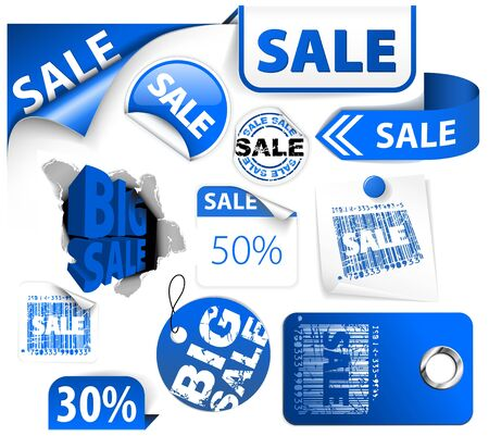 Set of blue discount tickets, labels, stamps, stickers, corners, tags (vector) photo