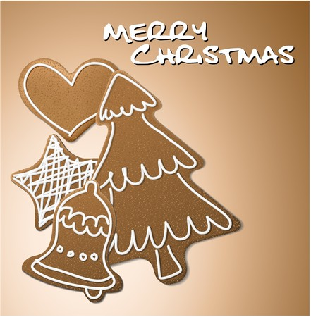 Christmas card - gingerbreads with white icing on brown background photo