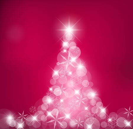 Purple Abstract Christmas tree made of light and snow flakes Stock Photo - 7913522