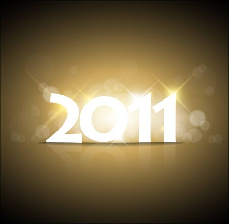 Golden New Years card 2011 with back light and place for your text Stock Vector - 8415342