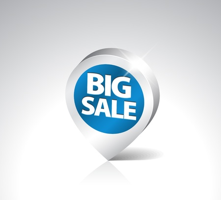 Round 3D pointer for big sale - blue with silver border Vector