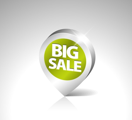 Round 3D pointer for big sale - green with silver border Vector