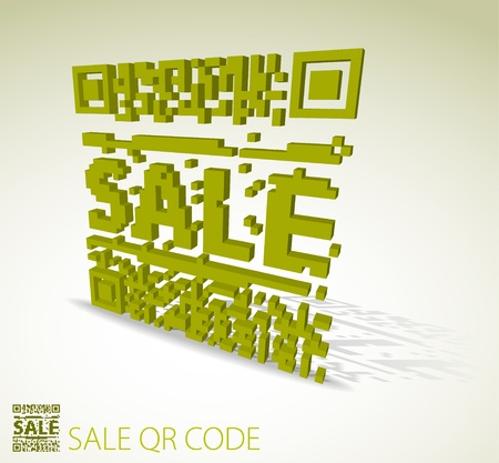 bar codes: Green 3D qr code for item in sale  (modern bar codes)