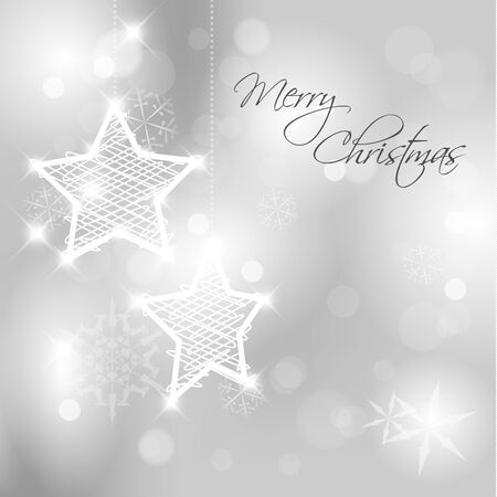 Christmas background with white snowflakes, stars and place for your text Vector