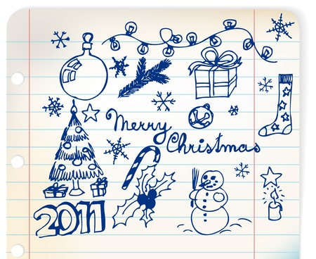 linked: Christmas and New Year doodle illustrations on linked paper