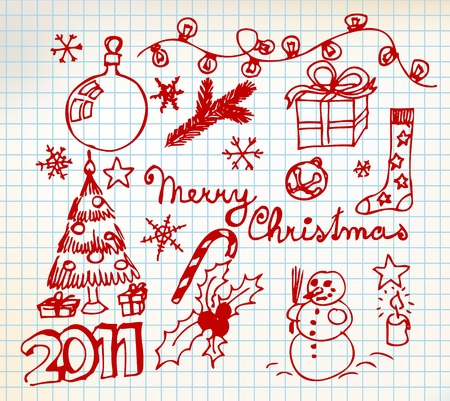 Christmas and New Year doodle illustrations on squared  paper Vector