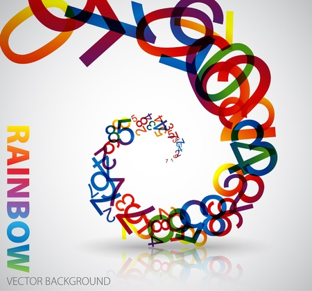 Abstract background with colorful rainbow numbers Vector