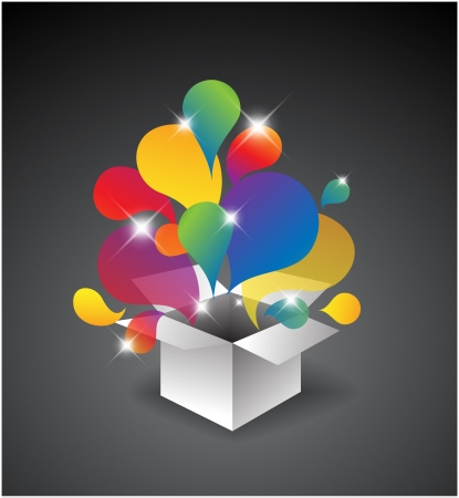 open present: Exploding gift box - Abstract illustration full of colors