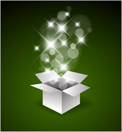 Magic gift box with a big surprise - christmas illustration
