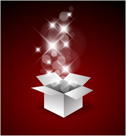 magic box: Magic gift box with a big surprise - christmas illustration