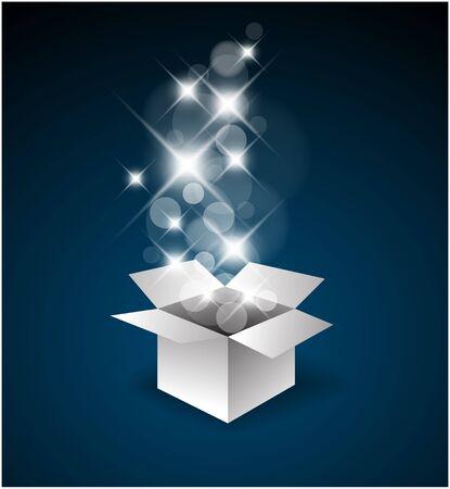 Magische Geschenk-Box mit eine große Überraschung - Weihnachten-Abbildung Vektorgrafik