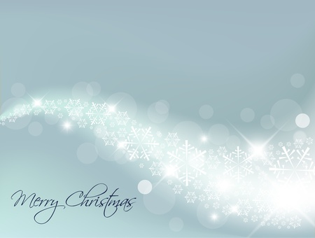 Light Blue Abstract Christmas background with white snowflakes Vector