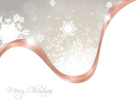Christmas grunge background with snowflakes and ribbon Vector