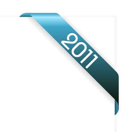 Fresh blue Christmas corner ribbon on a white paper Stock Vector - 8415060