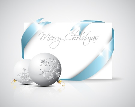 ���silver ribbon���: Christmas card - silver ribbon around blank paper with christmas decorations Illustration