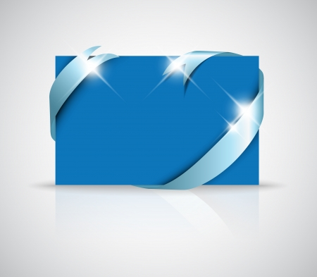 Christmas or wedding card - silver ribbon around blank blue paper, where you should write your text Vector
