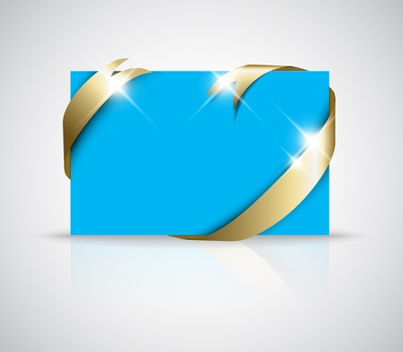 should: Christmas or wedding card - Golden ribbon around blank blue paper, where you should write your text