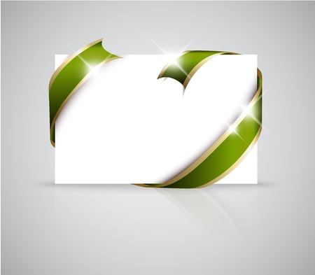 should: Christmas or wedding card - Golden ribbon around blank white paper, where you should write your text Illustration
