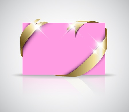 where: Christmas or wedding card - Golden ribbon around blank pink paper, where you should write your text