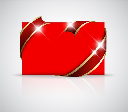 should: Christmas or wedding card - Golden ribbon around blank red paper, where you should write your text Illustration