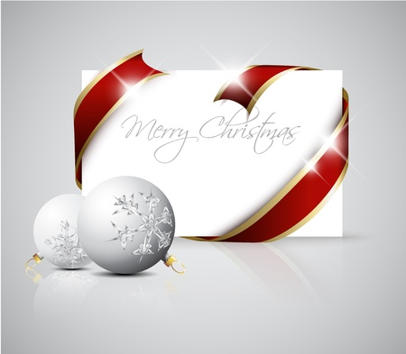 Christmas card - red  ribbon around blank paper with christmas decorations Vector