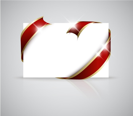 where: Christmas or wedding card - Golden ribbon around blank white  paper, where you should write your text Illustration