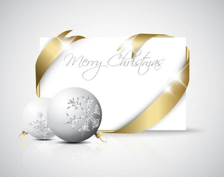 Christmas card - golden ribbon around blank paper with christmas decorations Vector