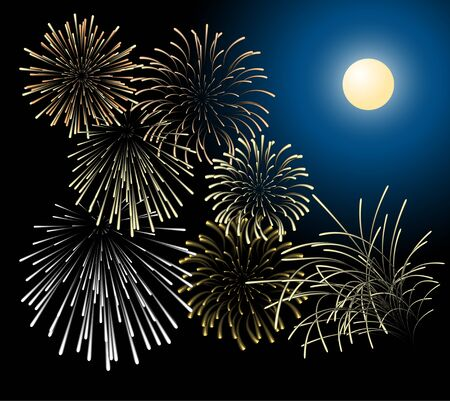 Silver and golden fireworks with moon on the background Vector
